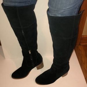Marc Fisher over the knee black suede boots 8